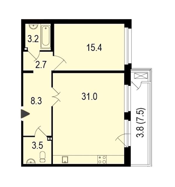 1-комнатная 67 м<sup>2</sup> на 1 этаже