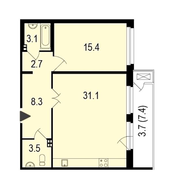 1-комнатная 67 м<sup>2</sup> на 2 этаже