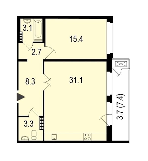 1-комнатная 66 м<sup>2</sup> на 4 этаже