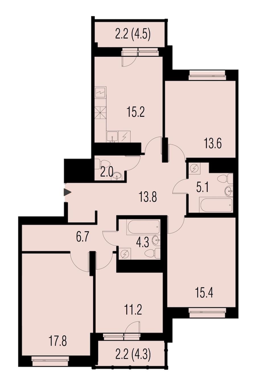 4-комнатная 109 м<sup>2</sup> на 21 этаже