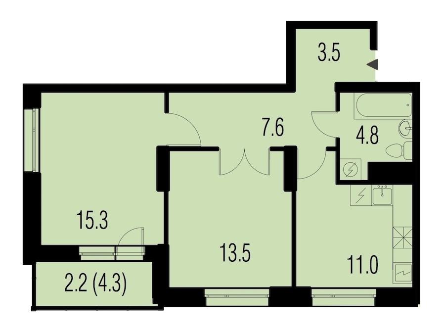 2-комнатная 58 м<sup>2</sup> на 19 этаже