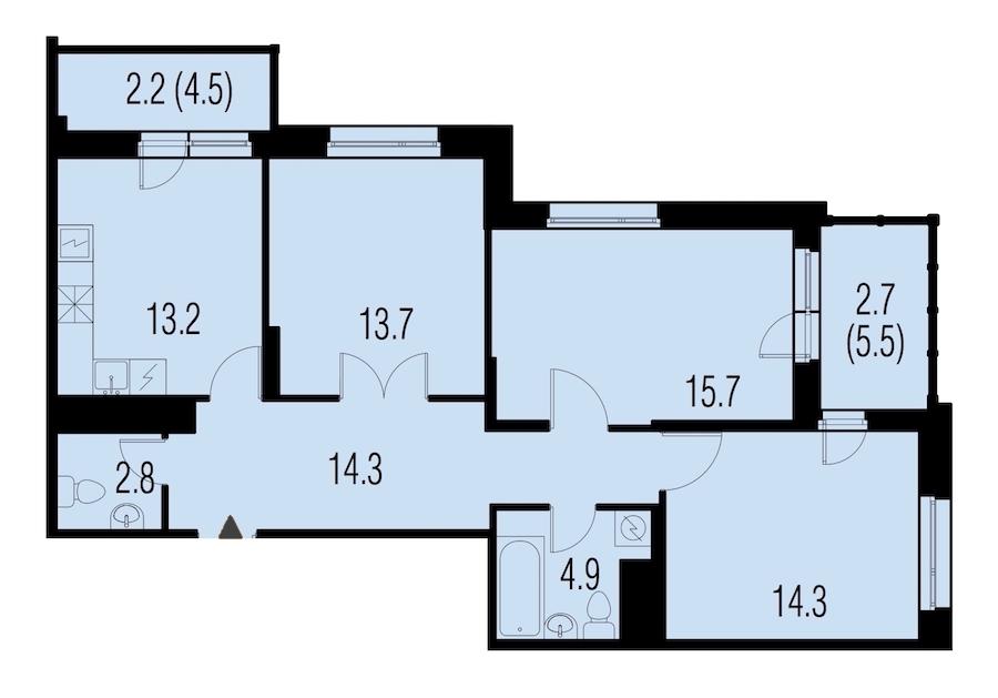 3-комнатная 83 м<sup>2</sup> на 22 этаже