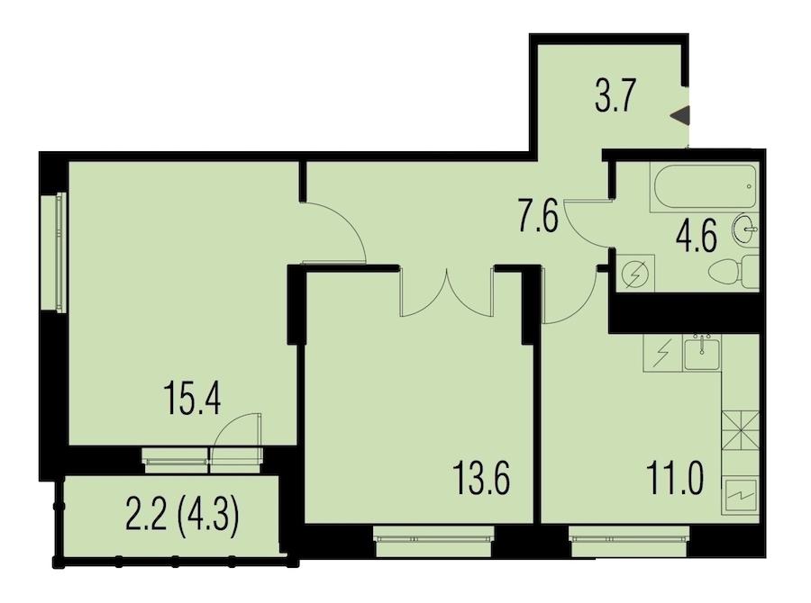2-комнатная 58 м<sup>2</sup> на 21 этаже
