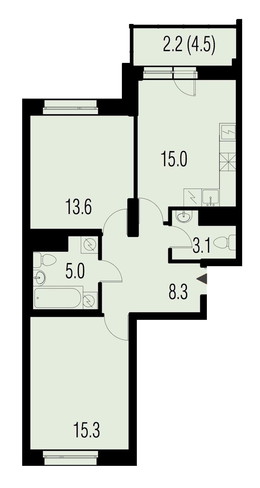 2-комнатная 63 м<sup>2</sup> на 15 этаже