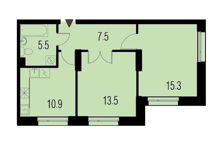 2-комнатная 52 м<sup>2</sup> на 1 этаже