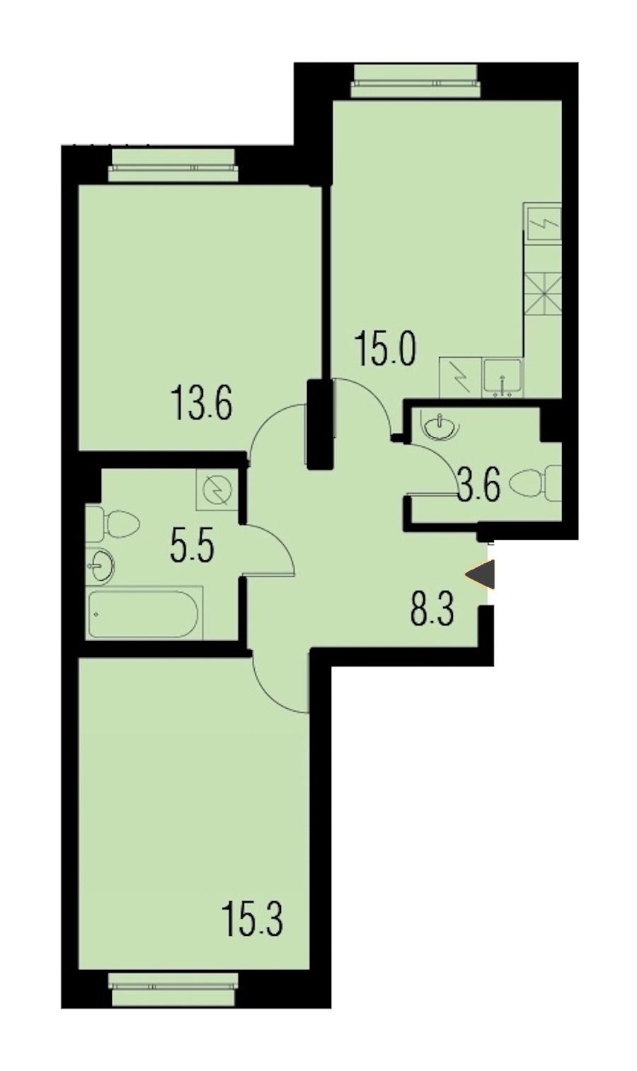 2-комнатная 61 м<sup>2</sup> на 1 этаже