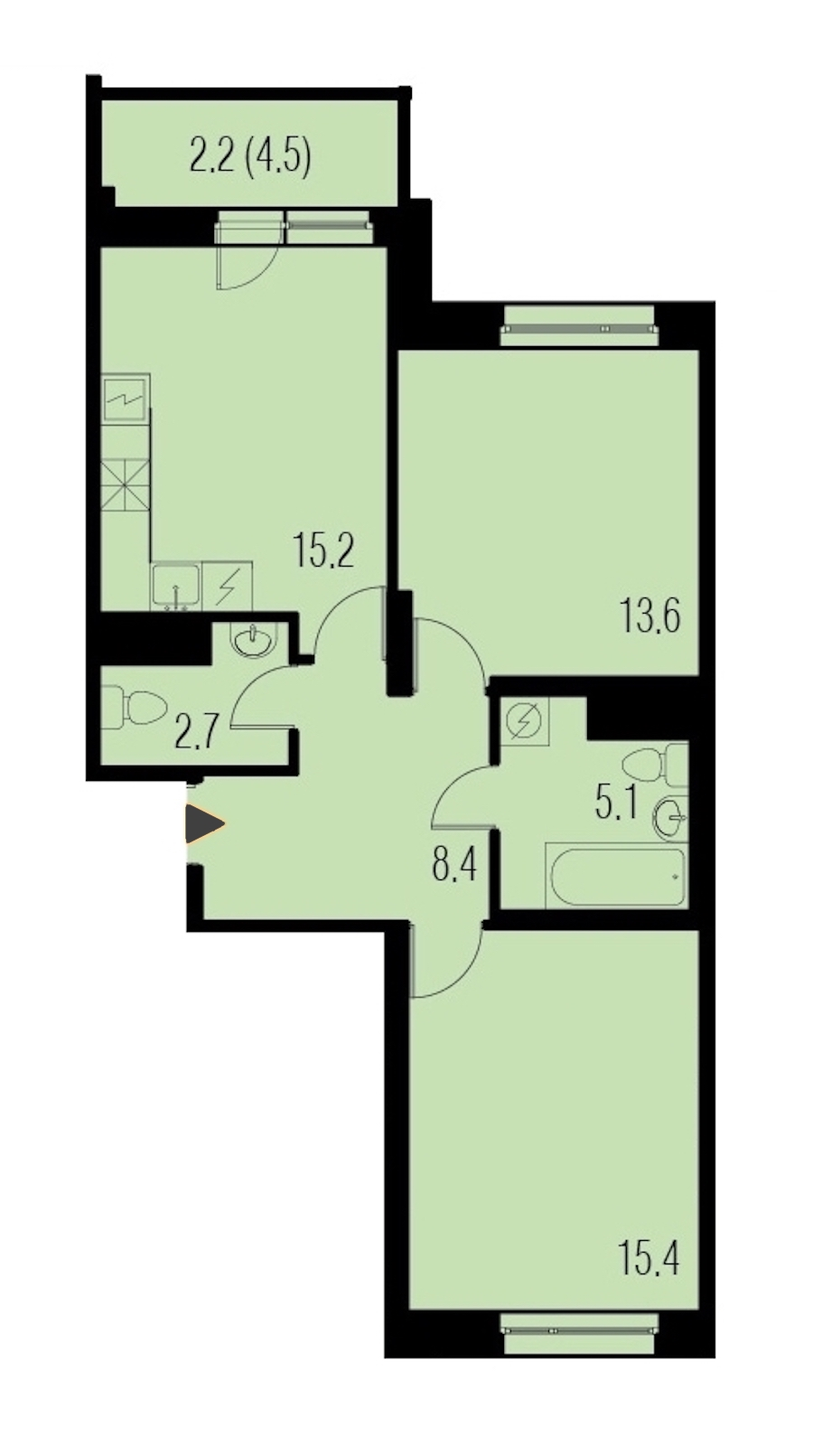 2-комнатная 62 м<sup>2</sup> на 19 этаже