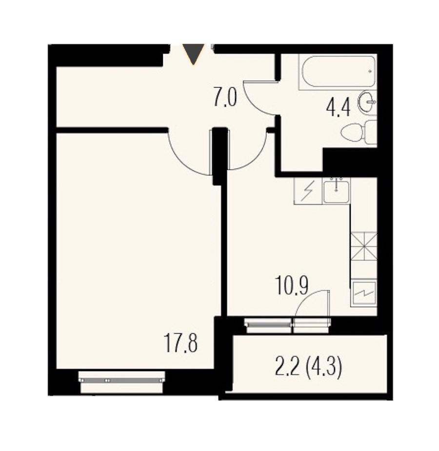 1-комнатная 42 м<sup>2</sup> на 19 этаже