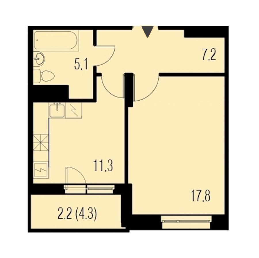 1-комнатная 43 м<sup>2</sup> на 12 этаже