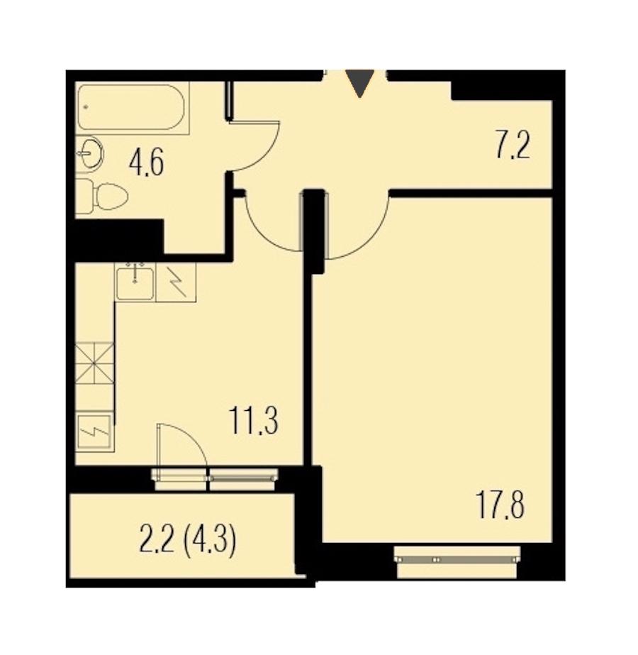 1-комнатная 43 м<sup>2</sup> на 19 этаже