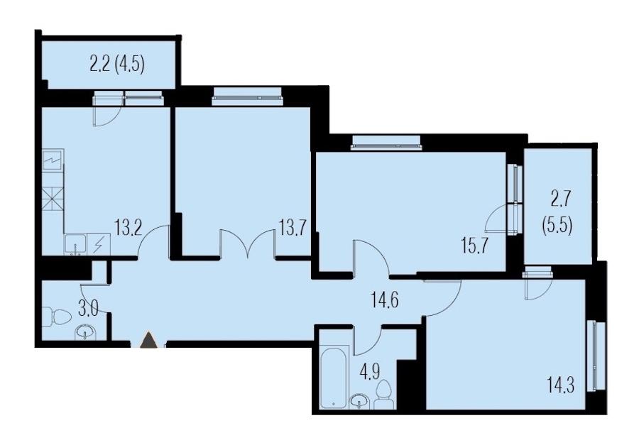 3-комнатная 84 м<sup>2</sup> на 16 этаже