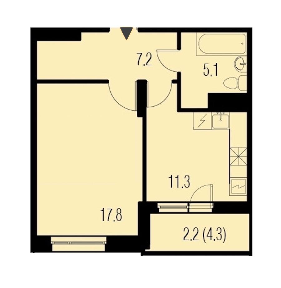 1-комнатная 43 м<sup>2</sup> на 16 этаже