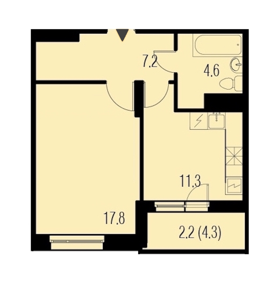 1-комнатная 43 м<sup>2</sup> на 20 этаже