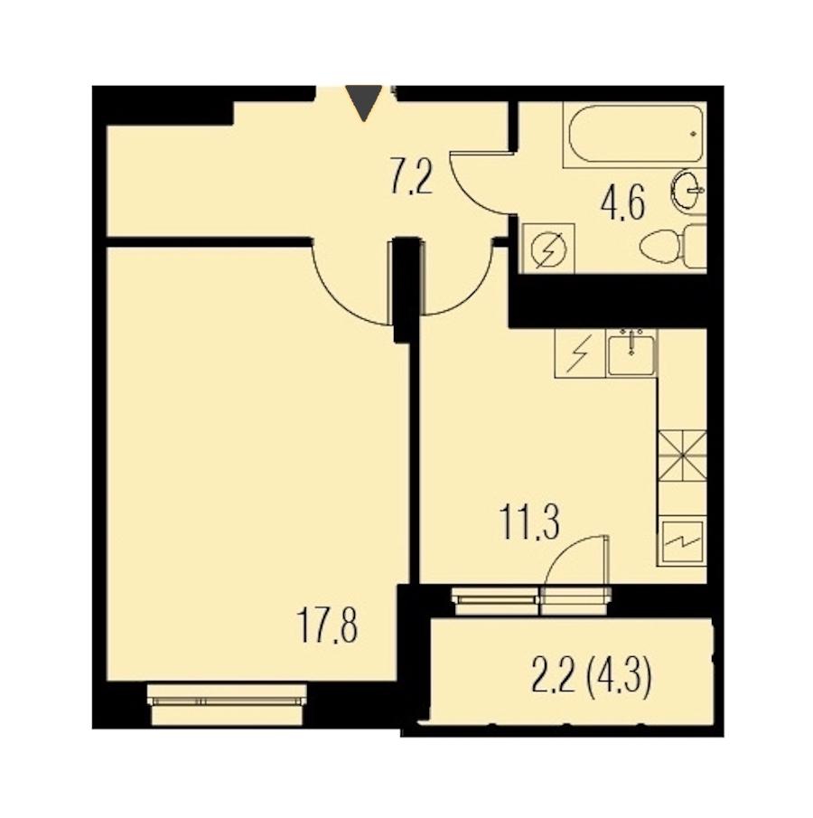 1-комнатная 43 м<sup>2</sup> на 22 этаже