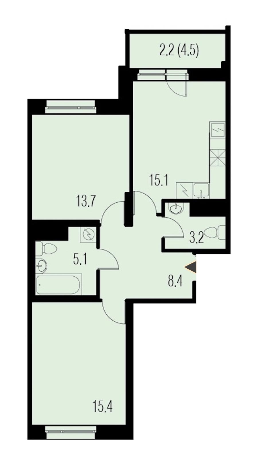 2-комнатная 63 м<sup>2</sup> на 14 этаже
