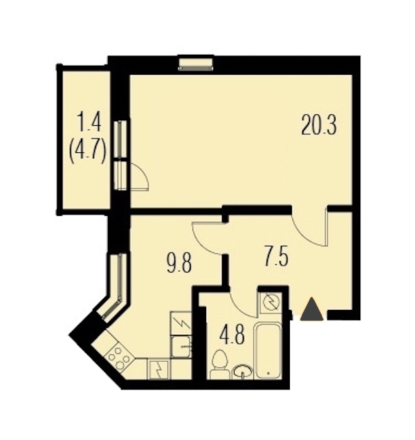 1-комнатная 43 м<sup>2</sup> на 4 этаже
