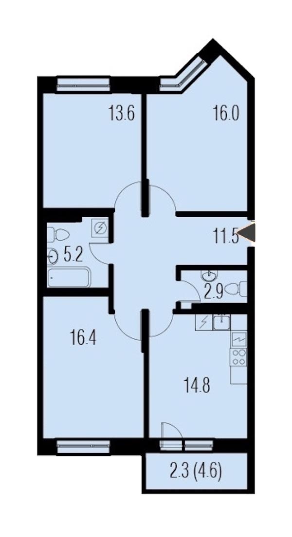 3-комнатная 82 м<sup>2</sup> на 4 этаже