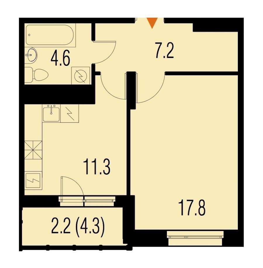 1-комнатная 42 м<sup>2</sup> на 22 этаже