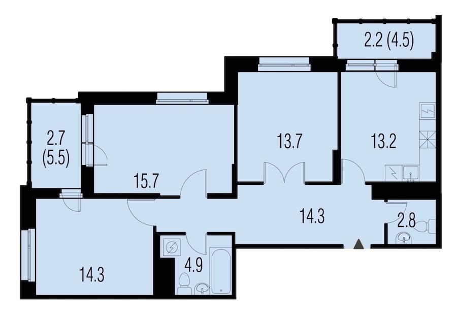 3-комнатная 81 м<sup>2</sup> на 22 этаже