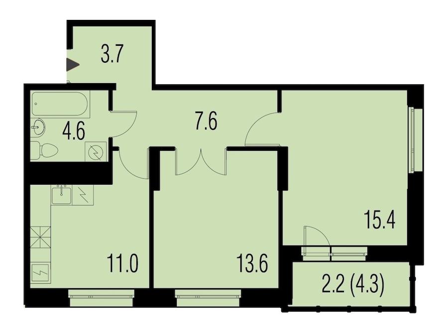 2-комнатная 56 м<sup>2</sup> на 21 этаже