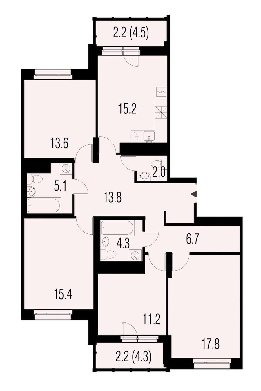 4-комнатная 107 м<sup>2</sup> на 21 этаже