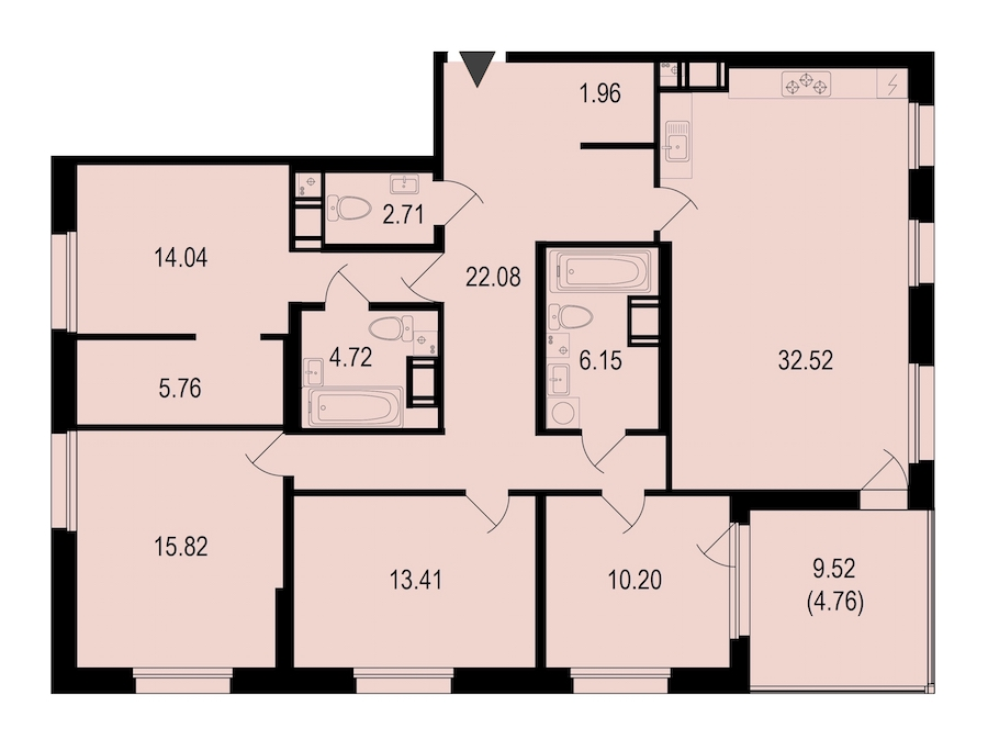 4-комнатная 134 м<sup>2</sup> на 10 этаже