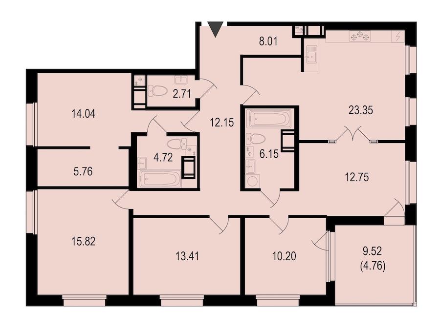 4-комнатная 133 м<sup>2</sup> на 9 этаже