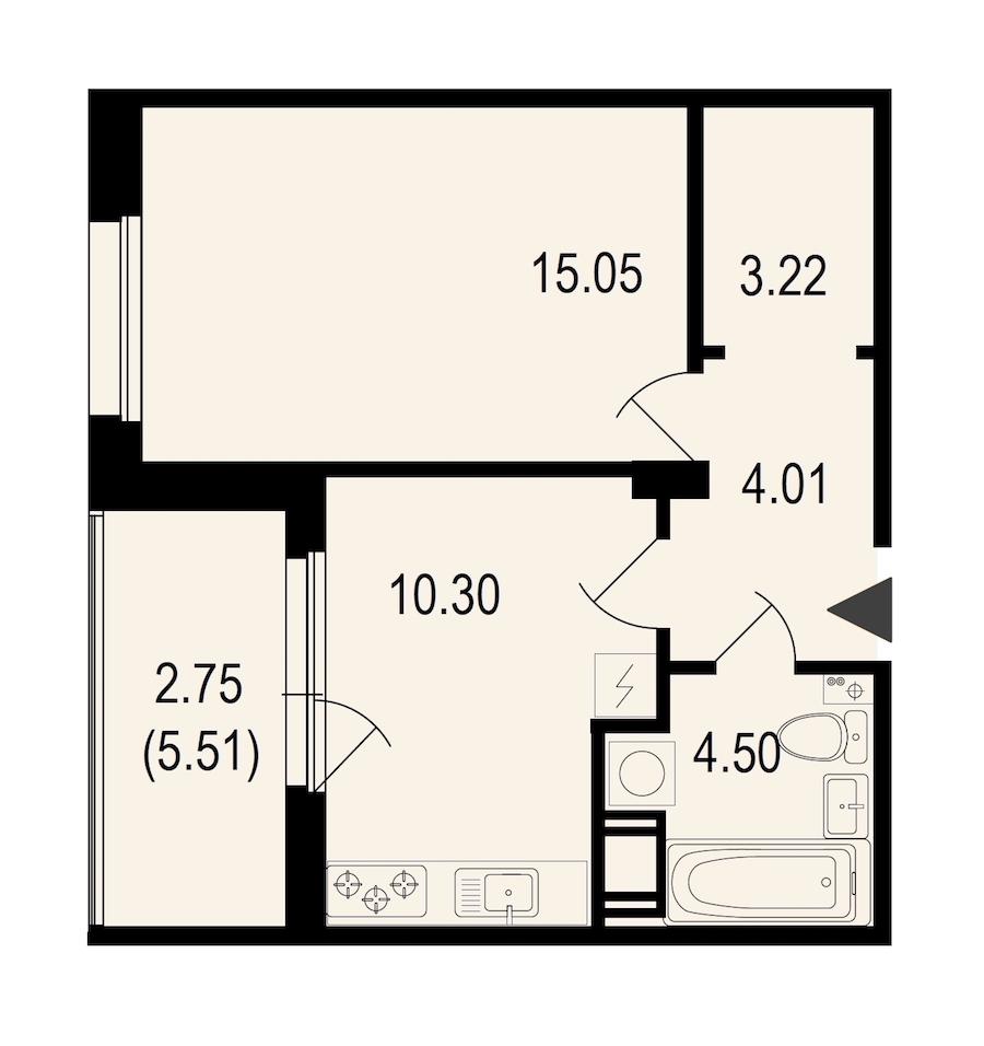 1-комнатная 39 м<sup>2</sup> на 10 этаже