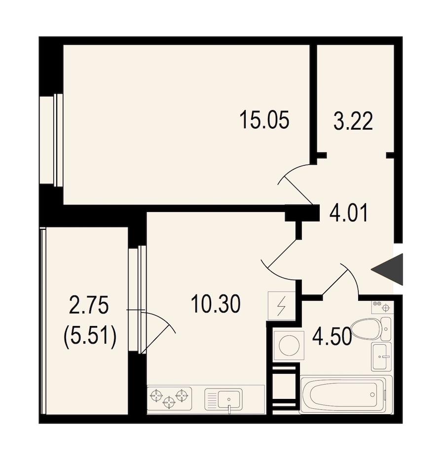 1-комнатная 39 м<sup>2</sup> на 9 этаже