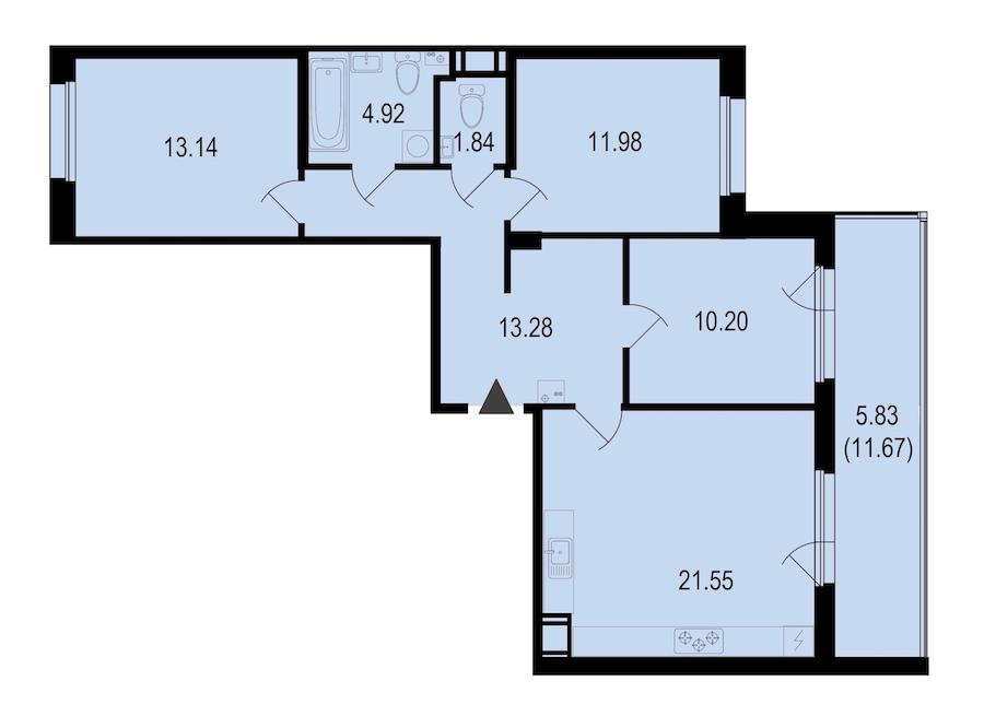 3-комнатная 82 м<sup>2</sup> на 8 этаже