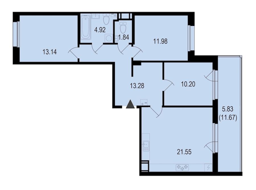 3-комнатная 82 м<sup>2</sup> на 9 этаже