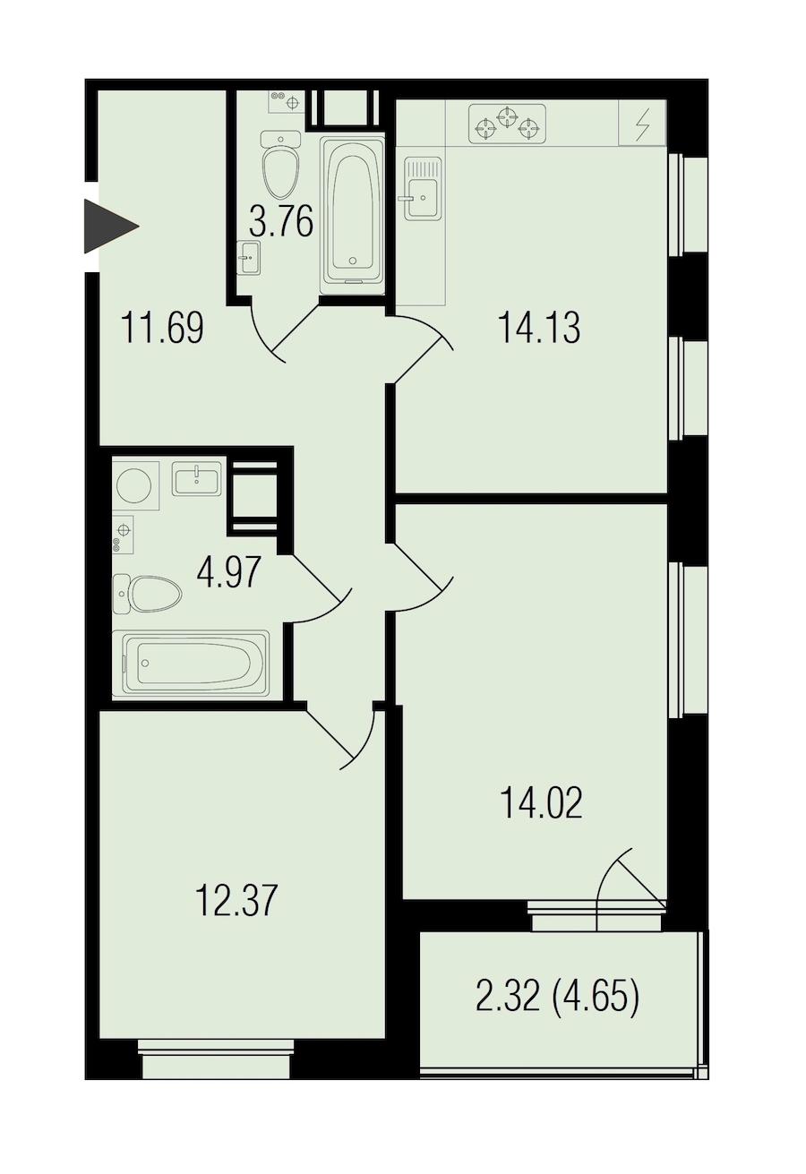 2-комнатная 63 м<sup>2</sup> на 3 этаже