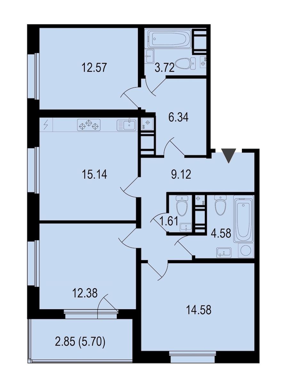 3-комнатная 82 м<sup>2</sup> на 6 этаже