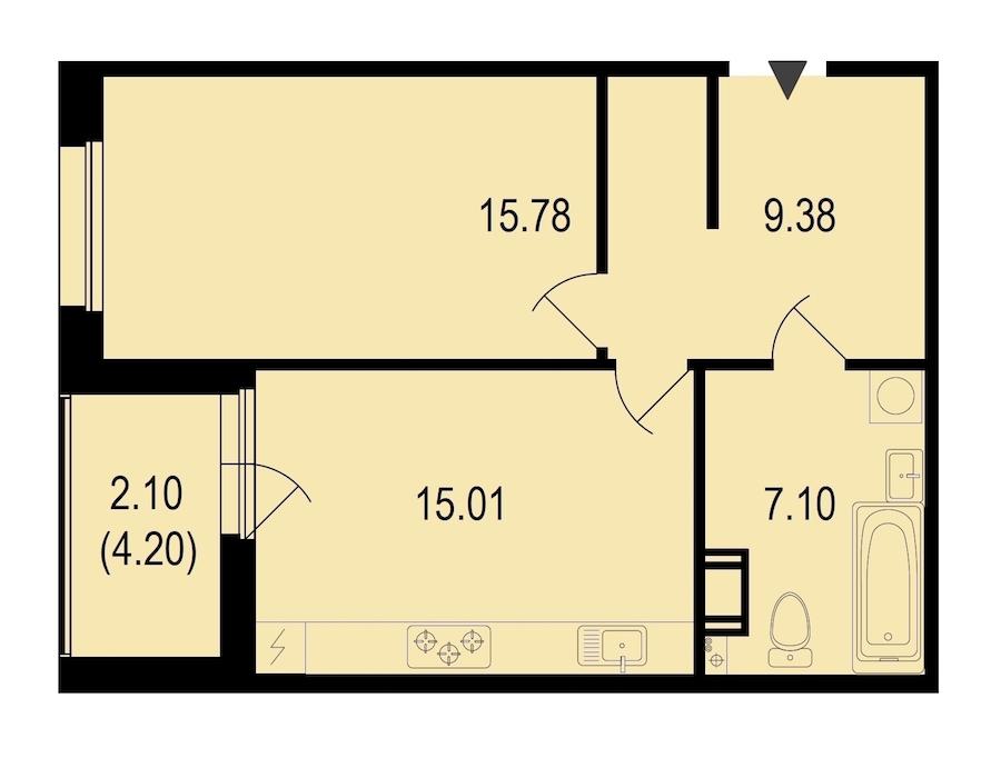 1-комнатная 49 м<sup>2</sup> на 7 этаже