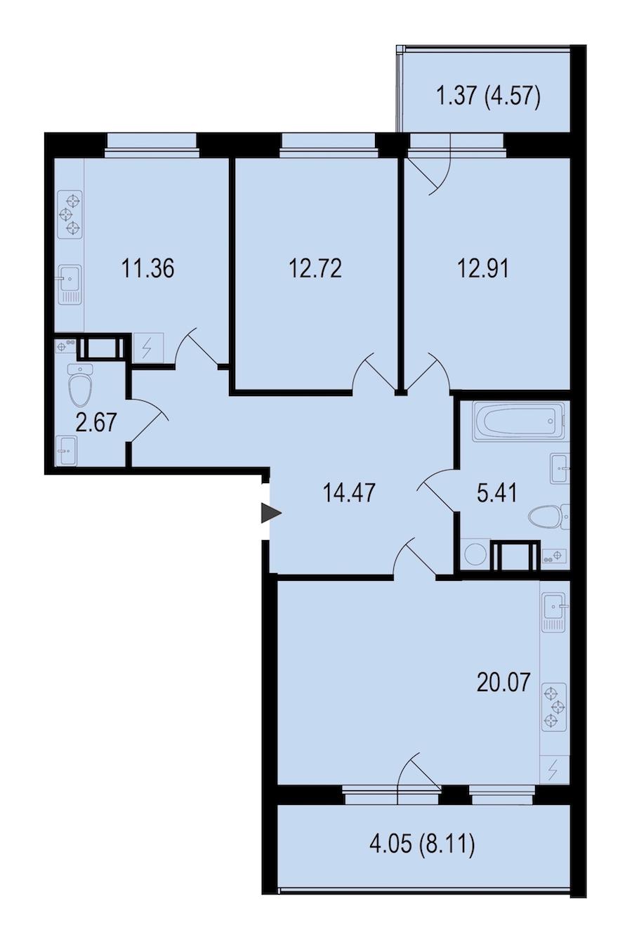 3-комнатная 85 м<sup>2</sup> на 4 этаже