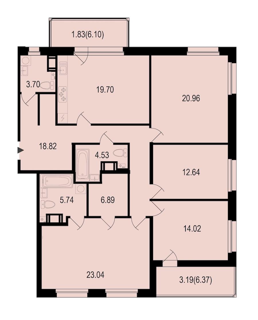 4-комнатная 133 м<sup>2</sup> на 8 этаже