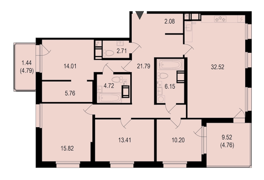 4-комнатная 135 м<sup>2</sup> на 10 этаже