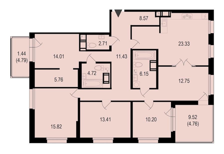 4-комнатная 135 м<sup>2</sup> на 9 этаже