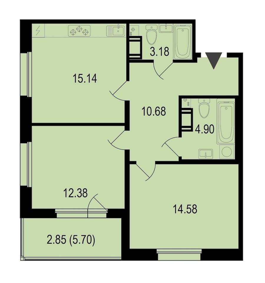 2-комнатная 63 м<sup>2</sup> на 5 этаже