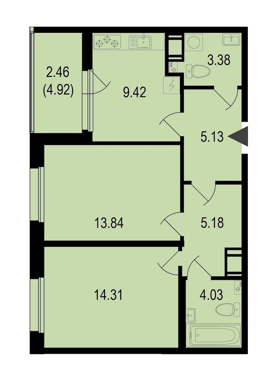 2-комнатная 57 м<sup>2</sup> на 10 этаже