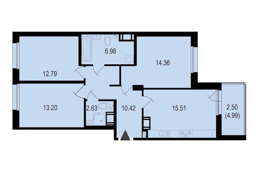 3-комнатная 78 м<sup>2</sup> на 9 этаже