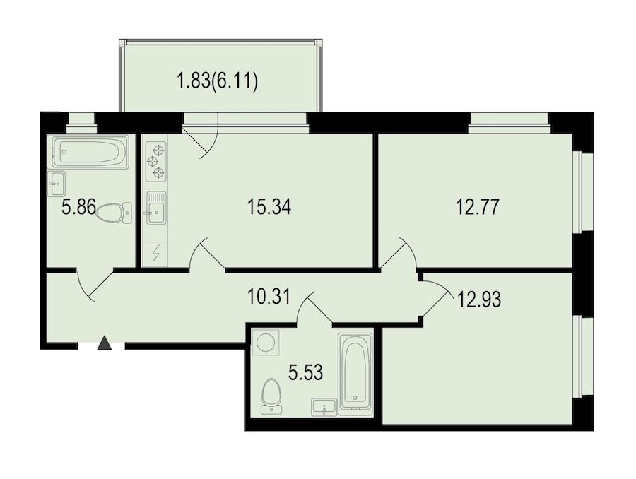 2-комнатная 64 м<sup>2</sup> на 2 этаже