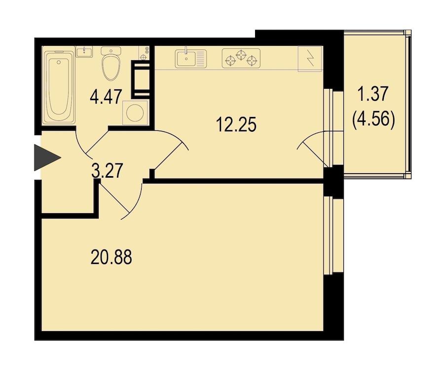 1-комнатная 42 м<sup>2</sup> на 7 этаже