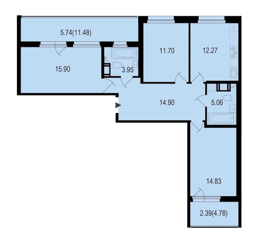 3-комнатная 86 м<sup>2</sup> на 5 этаже