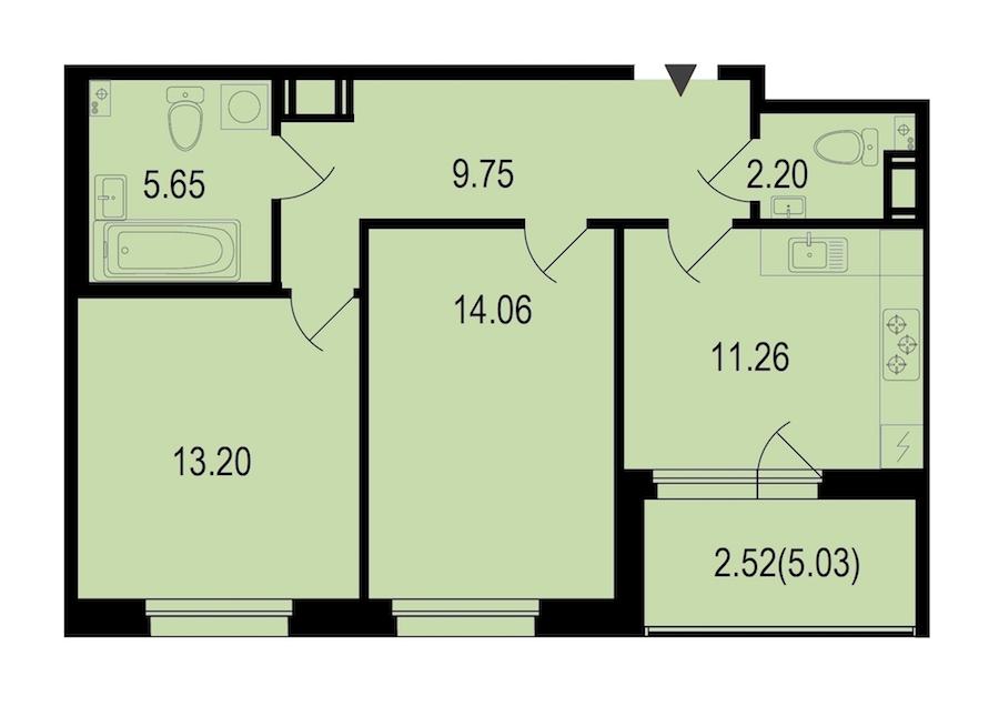 2-комнатная 58 м<sup>2</sup> на 8 этаже