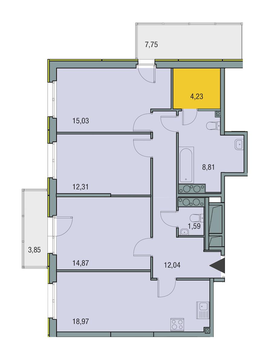 3-комнатная 87 м<sup>2</sup> на 25 этаже