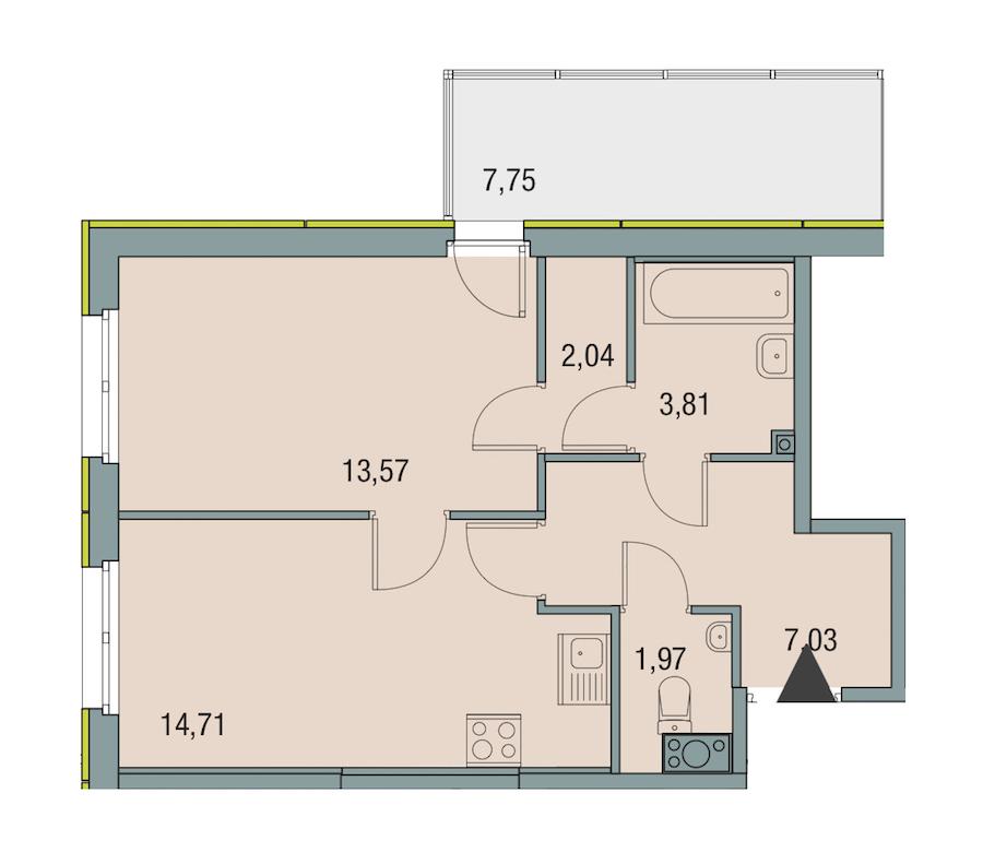 1-комнатная 43 м<sup>2</sup> на 5 этаже