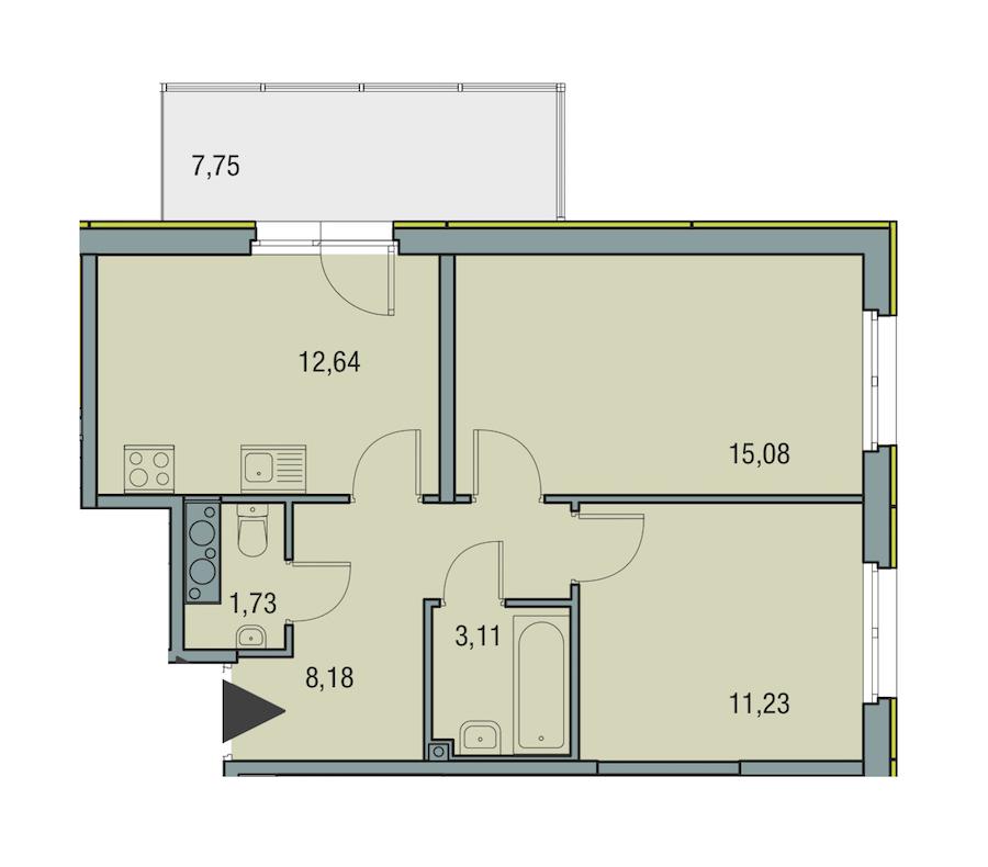 2-комнатная 51 м<sup>2</sup> на 25 этаже