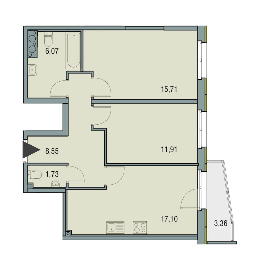 2-комнатная 61 м<sup>2</sup> на 25 этаже