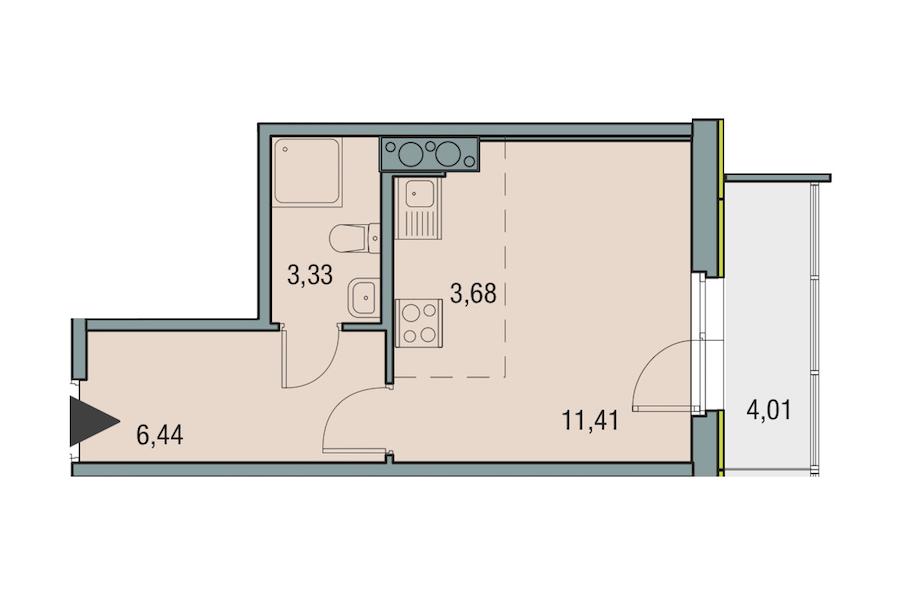 Студия 24 м<sup>2</sup> на 25 этаже